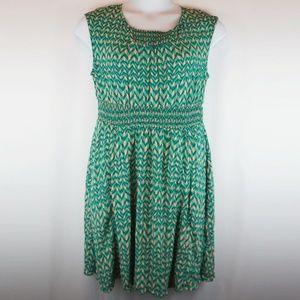 Anthro Maeve Dress Evaline Smocked Elastic Green